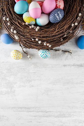 Duck and Hen Eggs in a Basket with Copy Space
