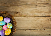 Colorful Easter Eggs in a Bird's Nest