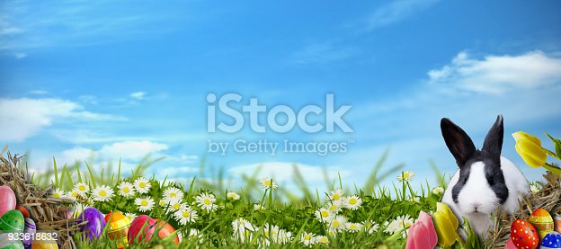 istock Easter background with Easter eggs and Easter bunny 933618632