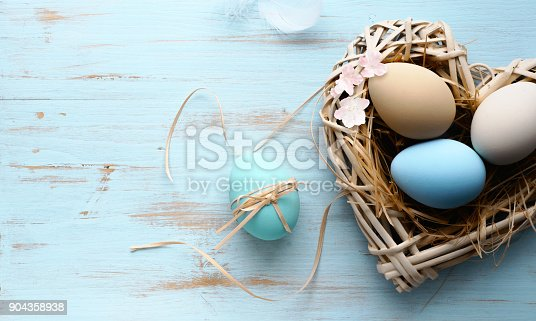 istock Easter background with Easter eggs in nest 904358938