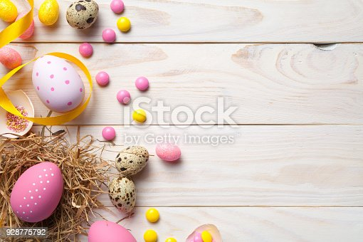 istock Easter Background with Easter Eggs 928775792