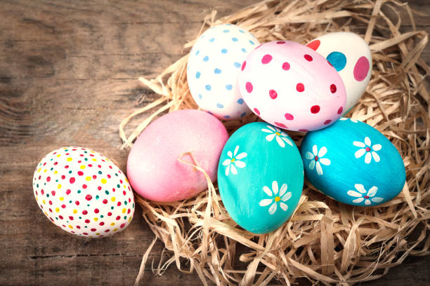 easter background with eggs and copyspace. happy easter! - easter bunny stock photos and pictures