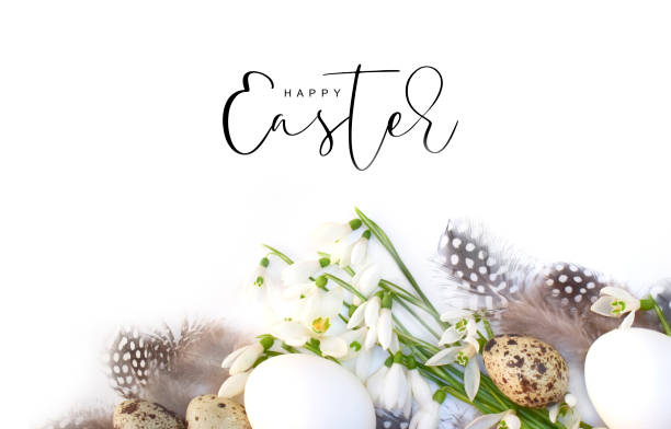 Easter background with flowers and eggs Easter background with flowers and eggs religious celebration stock pictures, royalty-free photos & images