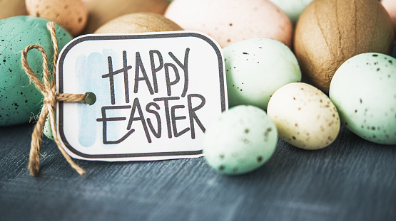 Easter background with pastel speckled eggs on gray and Easter message