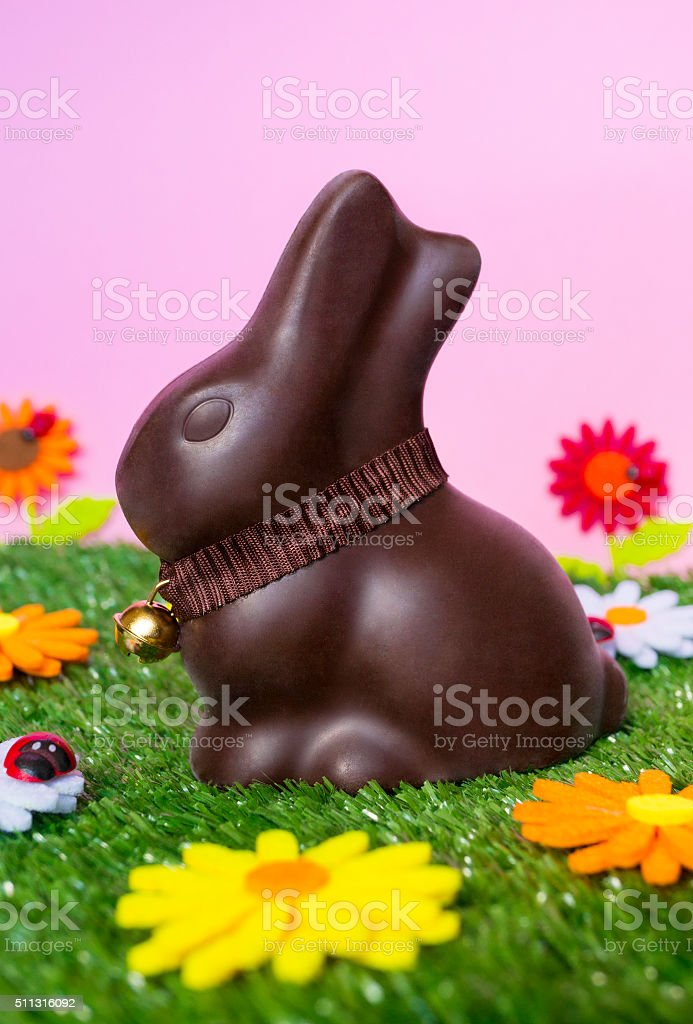 Easter background with rabbit stock photo