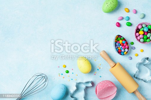 istock Easter baking background with kitchen tools for holiday sweet bakery top view. Flat lay. 1133402222