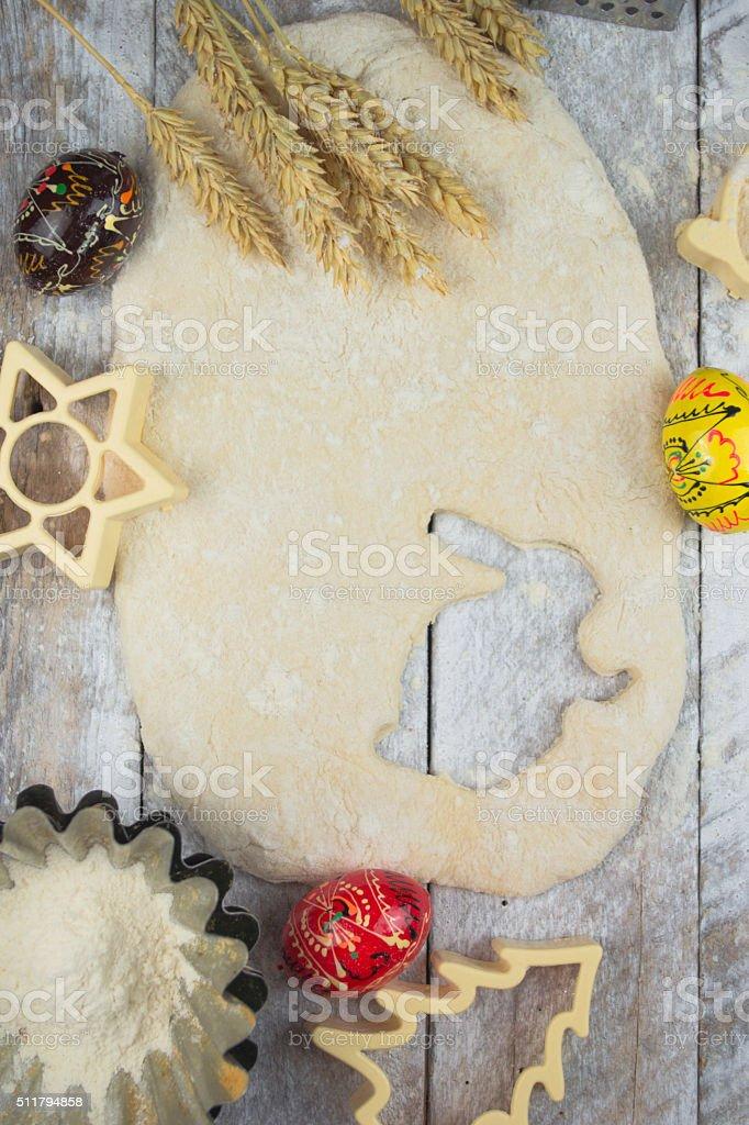 Easter baking preparation stock photo