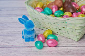 blue easter bunny beside colored chocolate eggs, in the background an easter basket on white wooden background