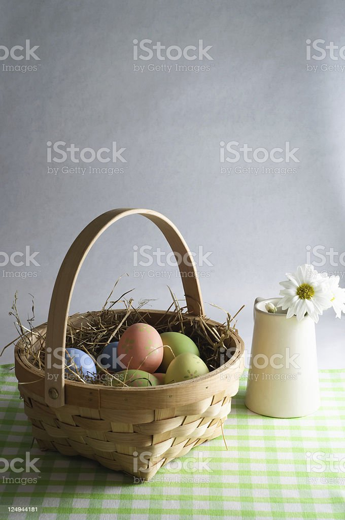Easter Basket and Flower Jug royalty-free stock photo