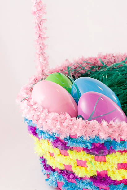 Easter Basket and Toy Eggs stock photo