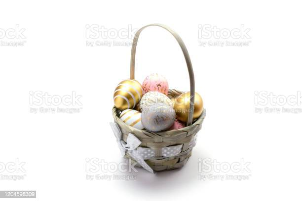 Easter basket colorful shine decorated eggs in basket isolated on picture id1204598309?b=1&k=6&m=1204598309&s=612x612&h=iuc7kwassivkgmnq7mgrsx61rinuflyarta9dy8dkg0=
