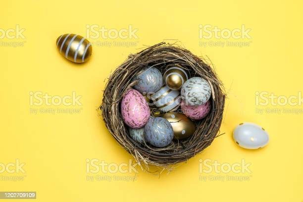 Easter basket eggs isolated on yellow for greeting card promotion picture id1202709109?b=1&k=6&m=1202709109&s=612x612&h=is6vhwom3dfnhkf cpn1ry2xsi9hujptnc3e0xmc1zy=