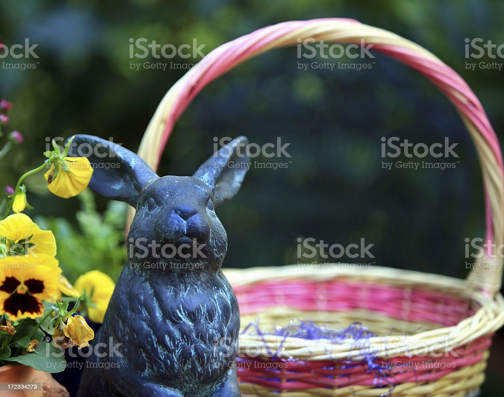 Easter Basket Flowers and Bunny in Spring royalty-free stock photo
