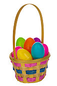 Easter Basket Full of Eggs, Clipping Path. Hand-made clipping Path is included so you can easily place this basket in your image or layout. The background is pure white.