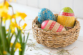 "Easter basket with a handwritten card saying ""Happy Easter"""