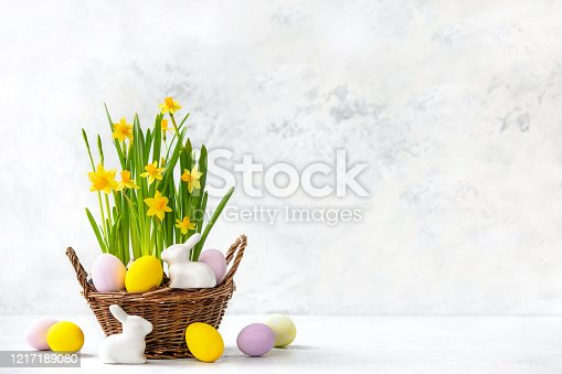 921112244 istock photo Easter basket with blooming daffodils, painted eggs and white bunny figurines 1217189080
