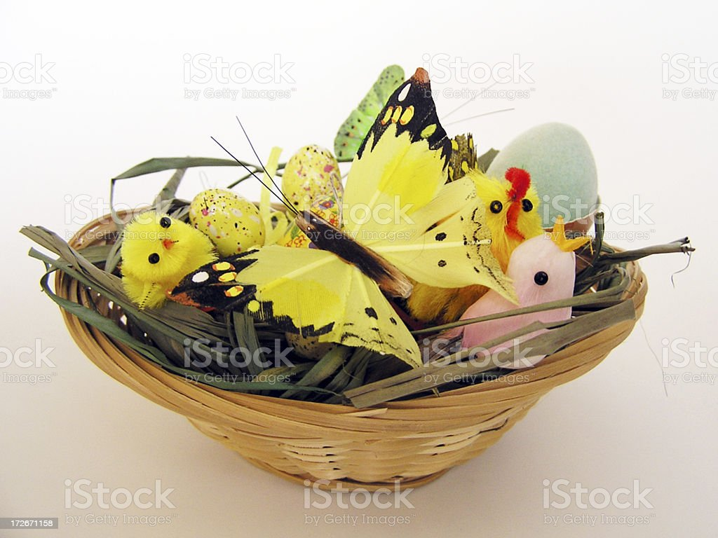 Easter basket with butterfly stock photo