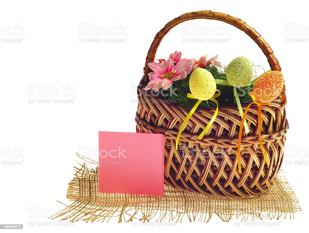 Easter basket with card royalty-free stock photo