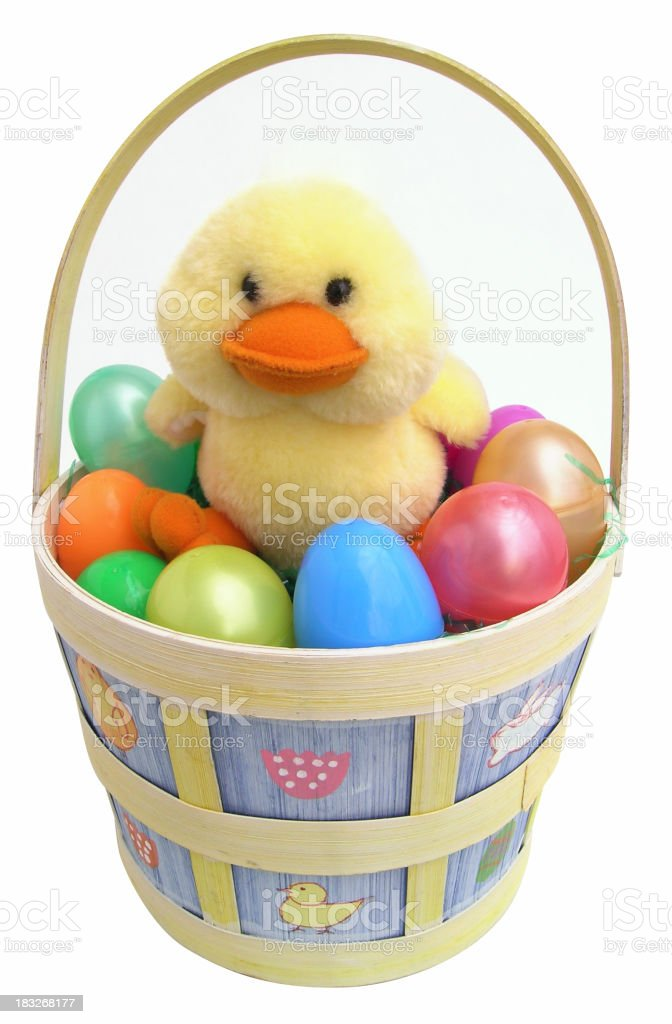 Easter basket with clipping path stock photo