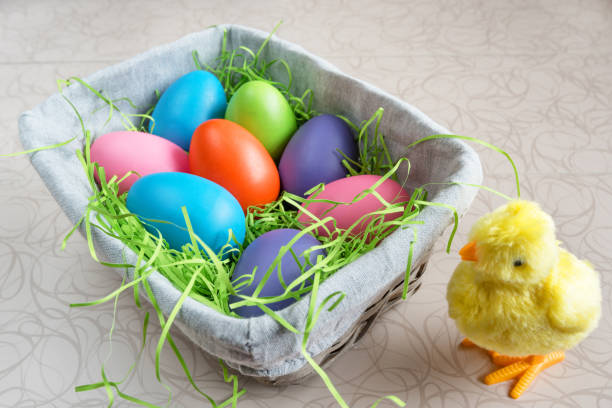 Easter basket with colored eggs and chicken on white board. stock photo