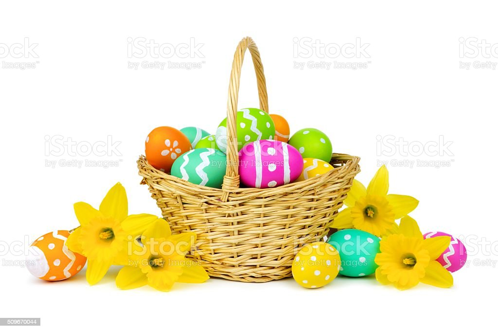 Easter basket with eggs and daffodils over white stock photo