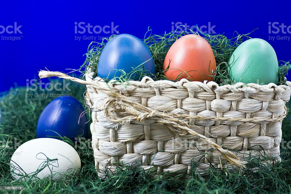 Easter basket with eggs royalty-free stock photo