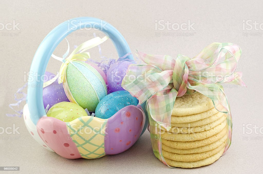 Easter Basket with Sugar Cookies royalty-free stock photo