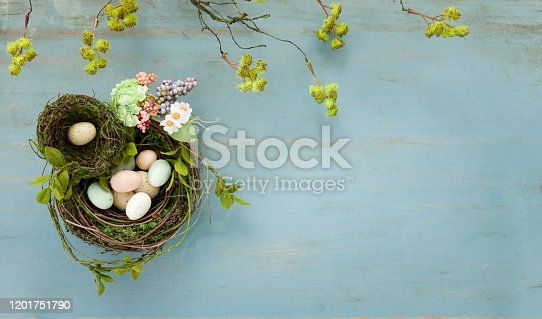 Easter Bird Nest with Easter Eggs on Rustic Blue Wood Background