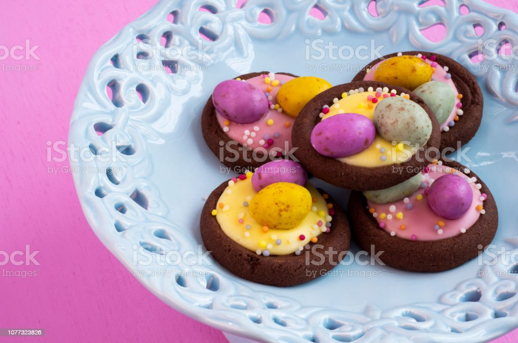Easter Biscuits on a Vintage Cake Stand stock photo