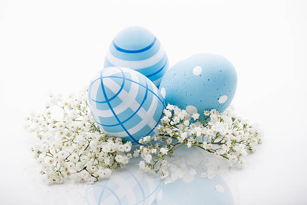 Easter blue eggs on white background stock photo