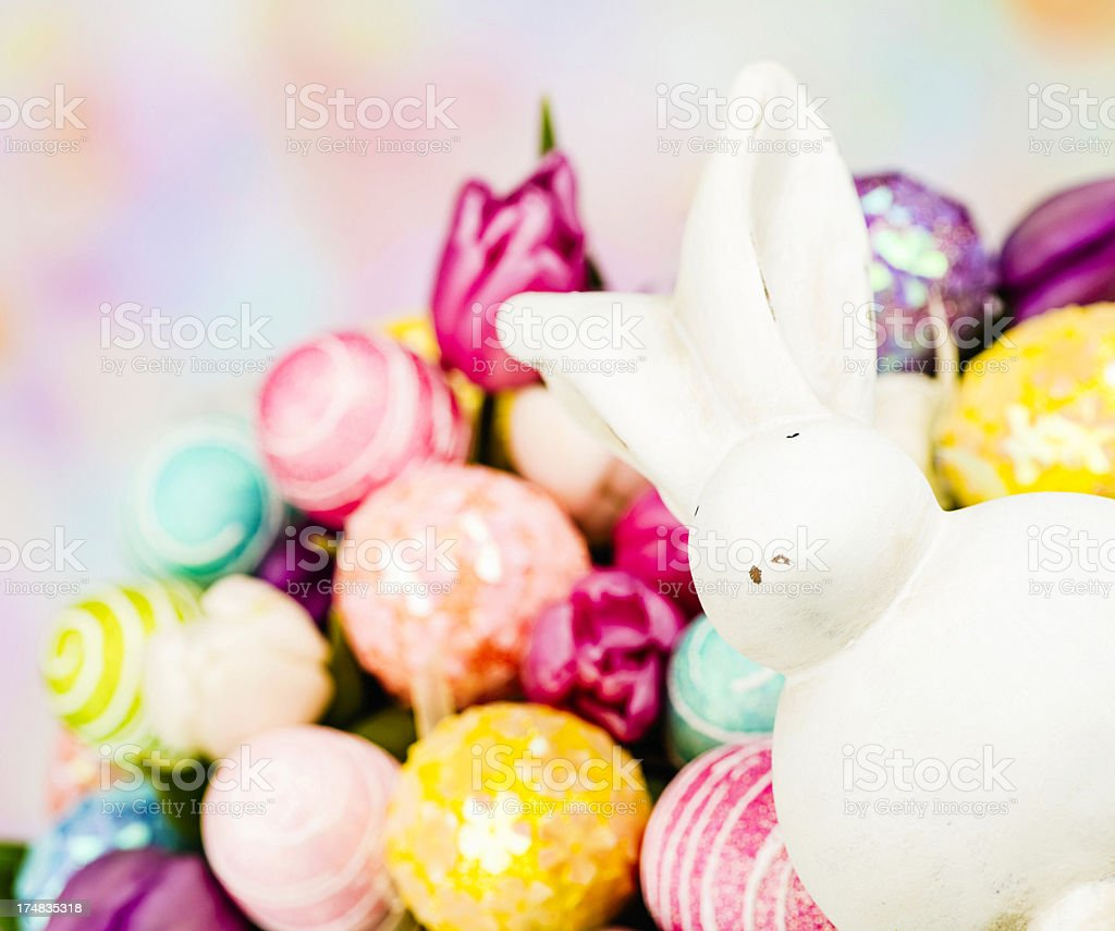 Easter Bouquet with White Bunny royalty-free stock photo