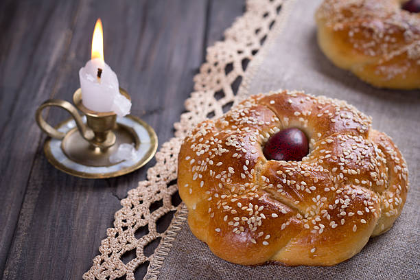 easter bread with candle - greek easter stock photos and pictures