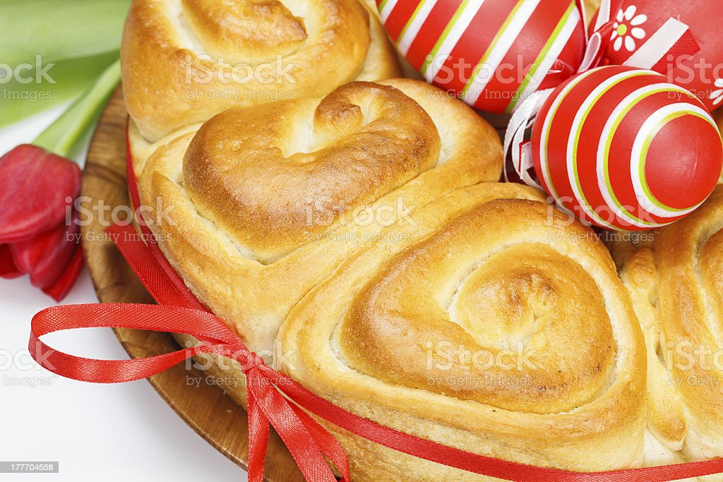 Easter  bread with red eggs royalty-free stock photo