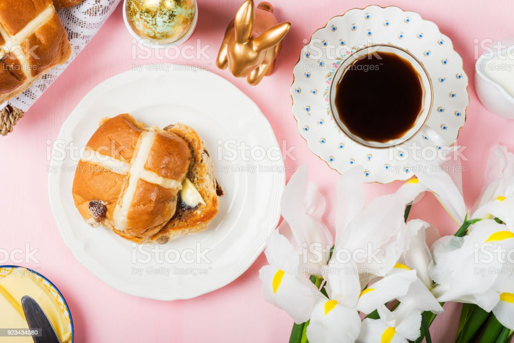 Easter Breakfast with Hot Cross Buns stock photo