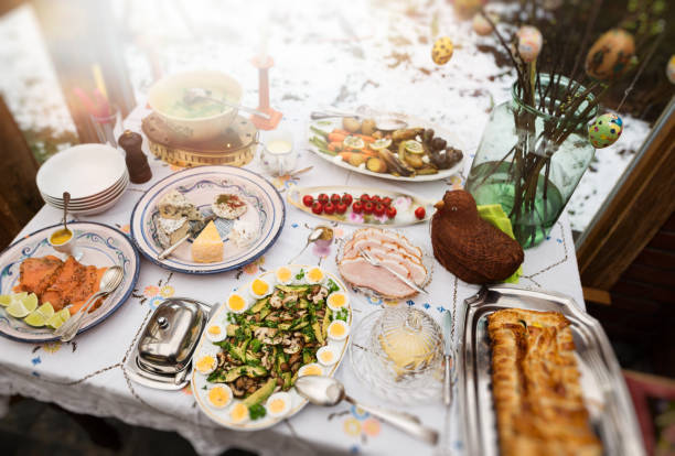 easter buffet - easter brunch stock photos and pictures