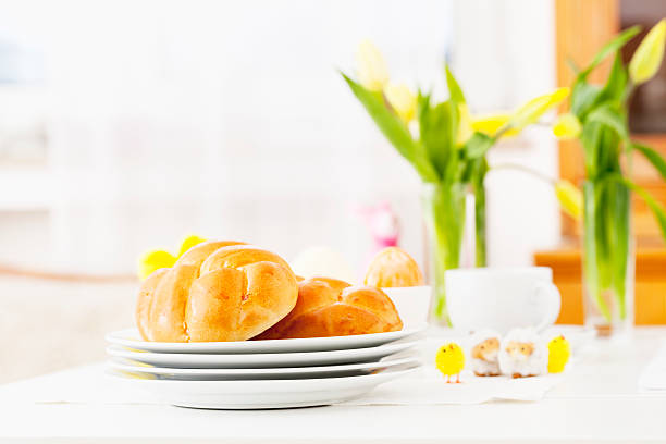 easter bun breakfast brunch - easter brunch stock photos and pictures
