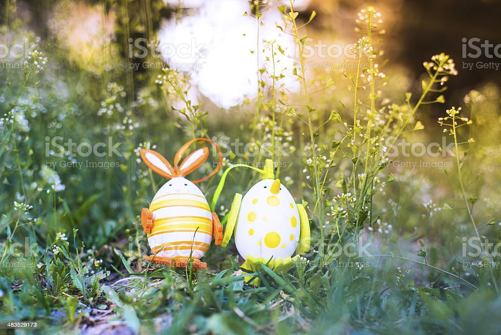 Easter bunnies and eggs royalty-free stock photo