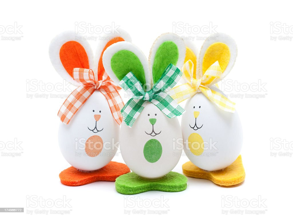 Easter bunnies isolated on white background royalty-free stock photo