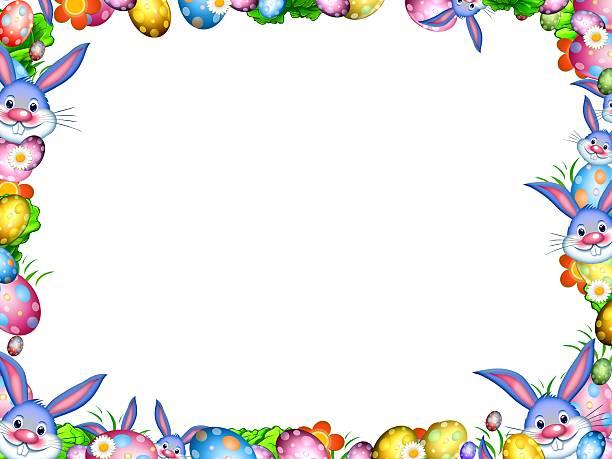 Miłośnicy Wielkanoc z kolorowych jaj i kwiaty ramki granicznej – zdjęcie