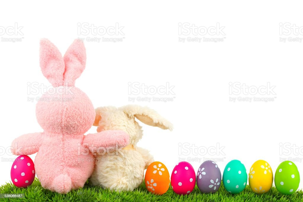 Easter Bunnies With Egg Border Royalty Free Stock Photo