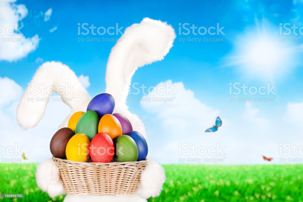 Easter bunny and eggs royalty-free stock photo