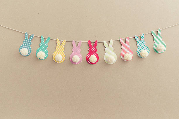 easter bunny banner. - easter bunny stock photos and pictures