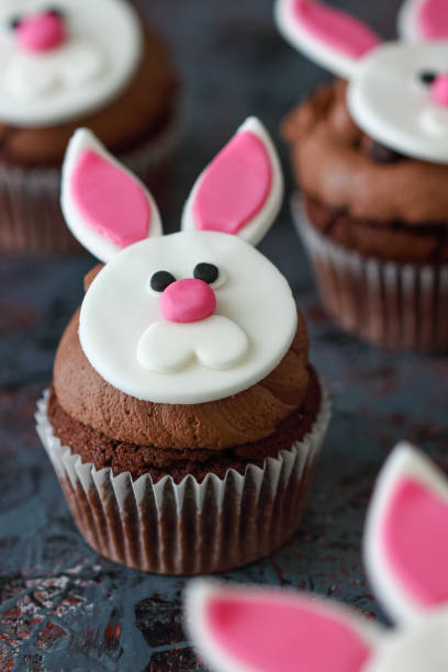 Easter Bunny Chocolate Cupcakes stock photo