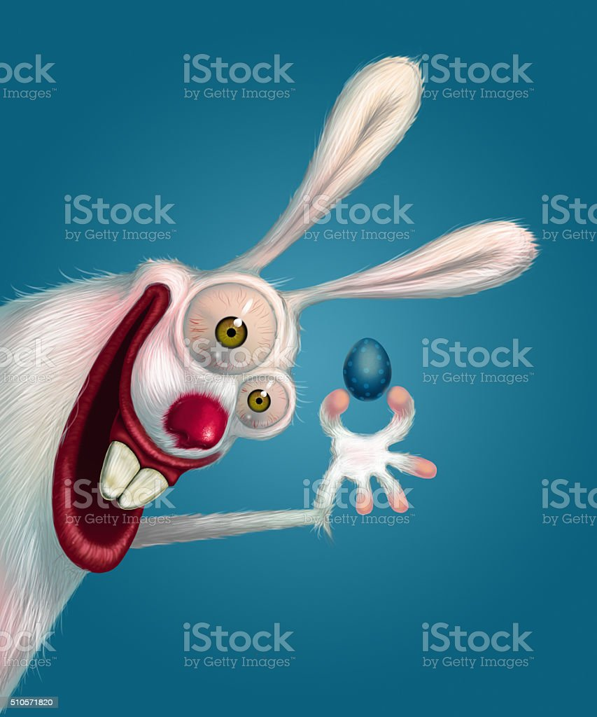 Easter bunny freaky crazy stock photo