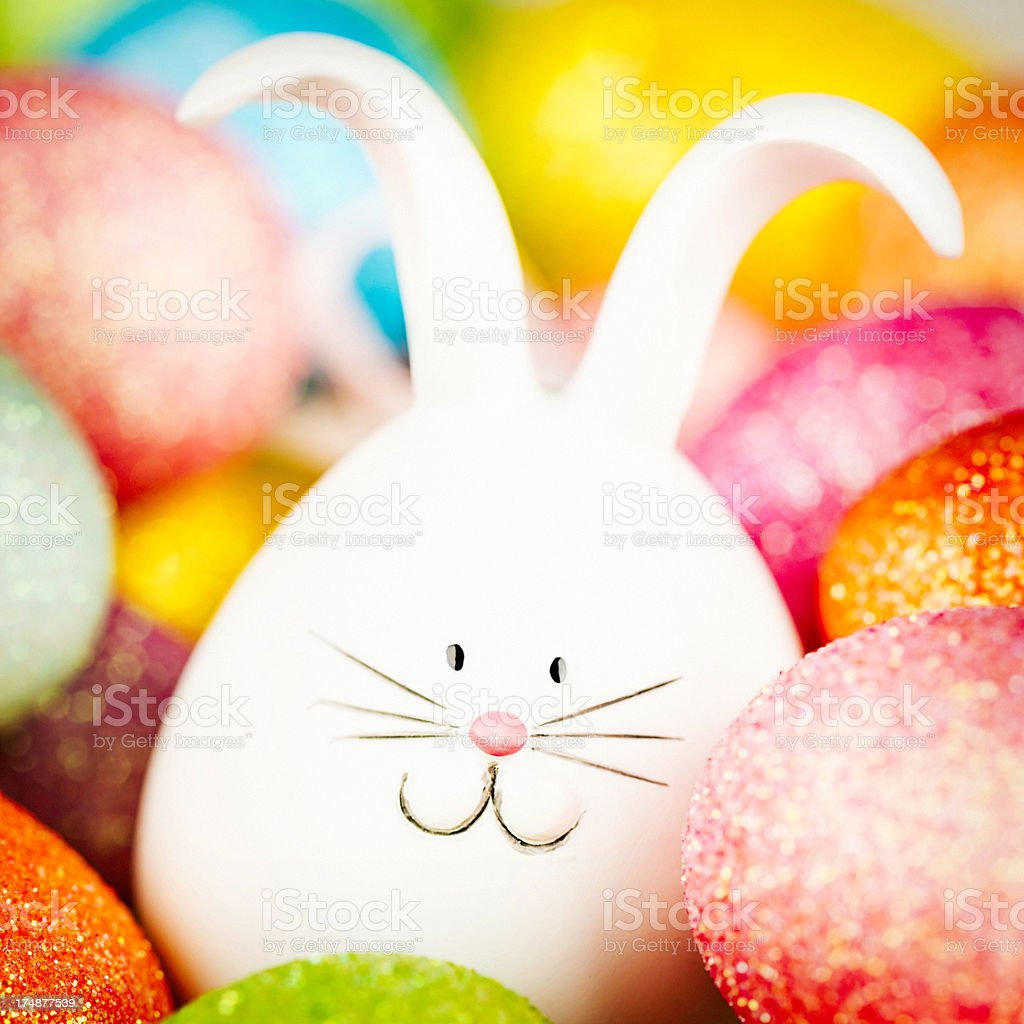Easter Bunny Hiding in Eggs royalty-free stock photo
