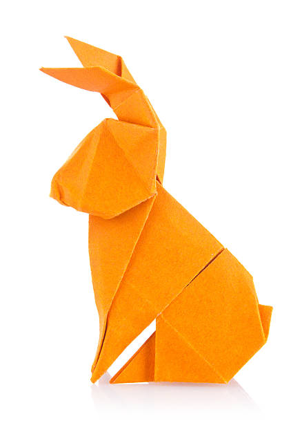 easter bunny of orange origami - lapin animal photos et images de collection