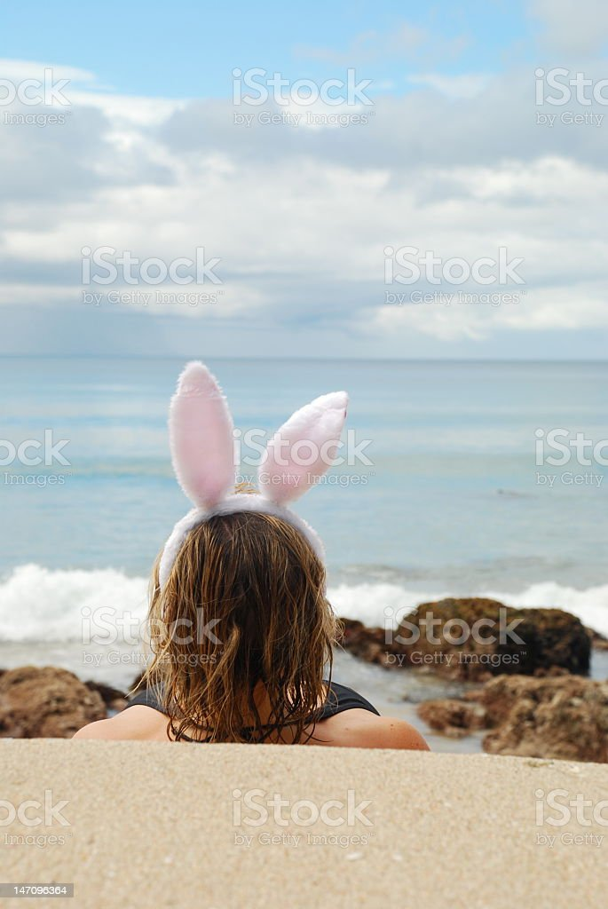 Easter Bunny on the beach stock photo