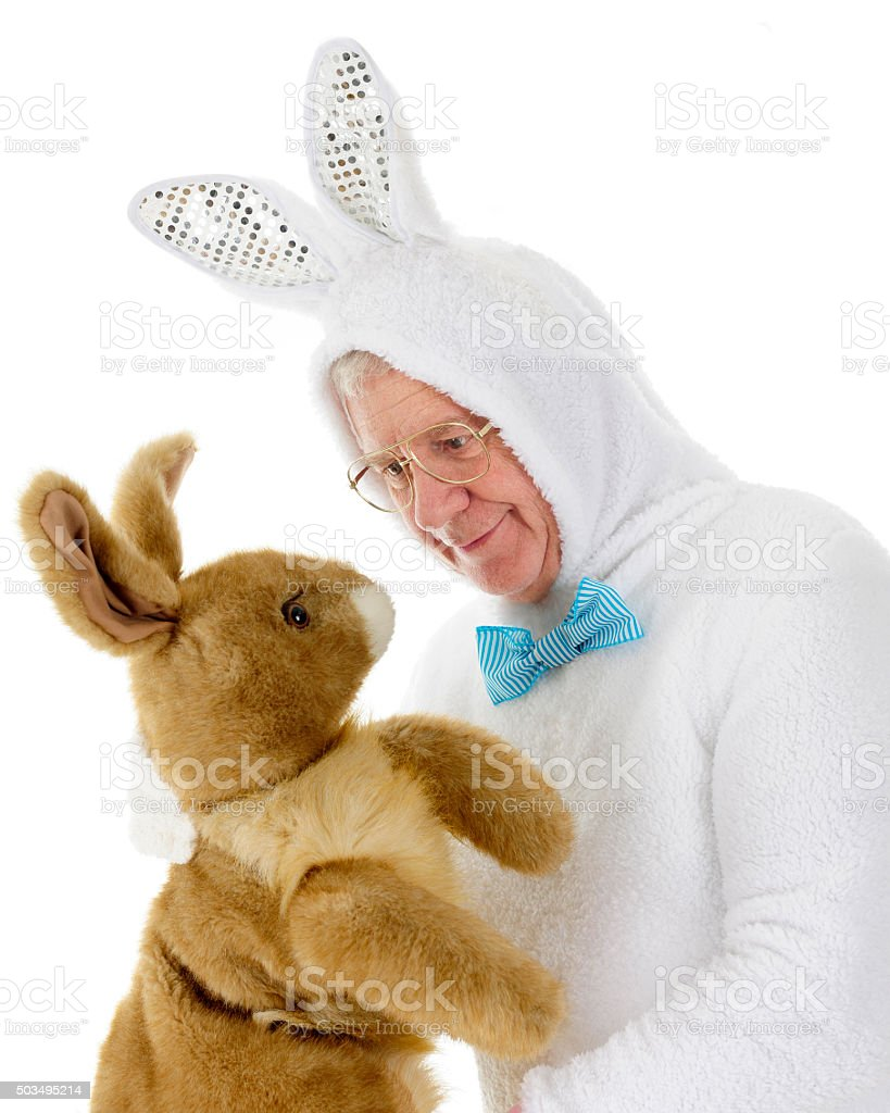 Easter Bunny Stare-Down stock photo