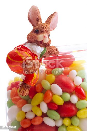 Easter bunny with bowl of sugar eggs