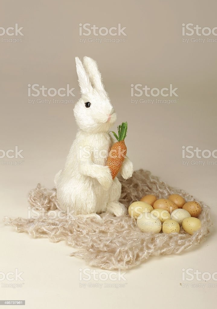 Easter Bunny with Carrot and Eggs royalty-free stock photo